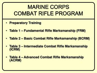 MARINE CORPS  COMBAT RIFLE PROGRAM