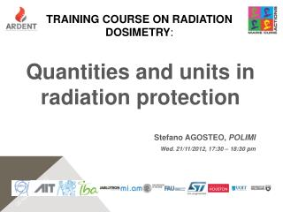TRAINING COURSE on radiation dosimetry :