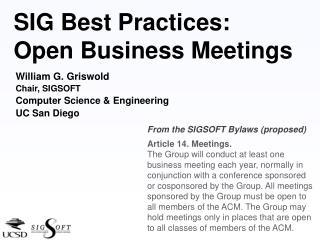 SIG Best Practices: Open Business Meetings
