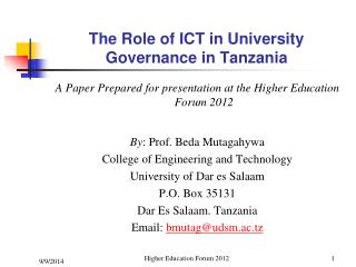 The Role of ICT in University Governance in Tanzania