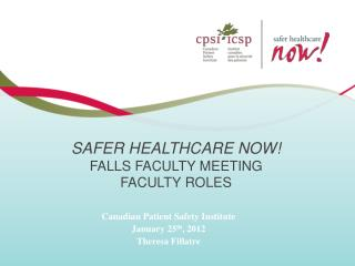 Safer Healthcare Now! Falls Faculty meeting FACULTY ROLES