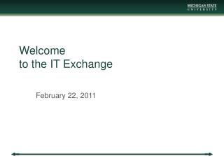 Welcome to the IT Exchange