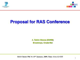 Proposal for RAS Conference