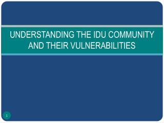UNDERSTANDING THE IDU COMMUNITY AND THEIR VULNERABILITIES