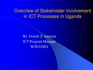 Overview of Stakeholder Involvement in ICT Processes in Uganda
