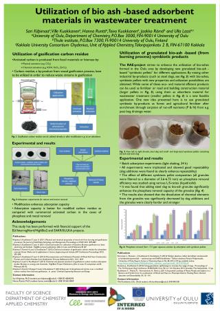Utilization of bio ash -based adsorbent materials in wastewater treatment
