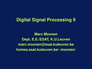 Digital Signal Processing II