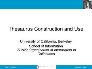Thesaurus Construction and Use