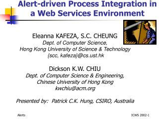 Alert-driven Process Integration in a Web Services Environment