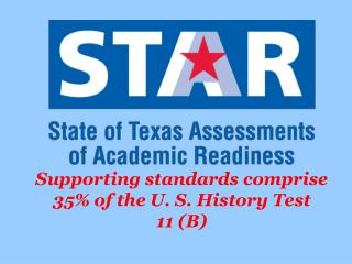 Supporting standards comprise 35% of the U. S. History Test 11 (B)