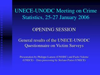UNECE-UNODC Meeting on Crime Statistics, 25-27 January 2006