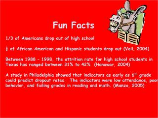 Fun Facts 1/3 of Americans drop out of high school