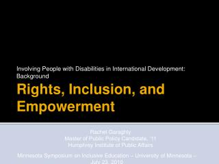 Rights, Inclusion, and Empowerment