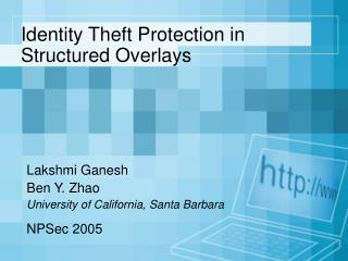 Identity Theft Protection in Structured Overlays