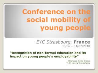 Conference on the social mobility of young people