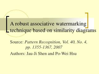 A robust associative watermarking technique based on similarity diagrams