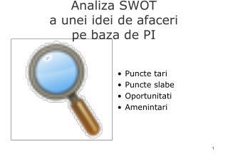 Analiza SWOT  a unei idei de afaceri  pe baza de PI