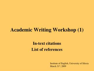Academic Writing Workshop (1)