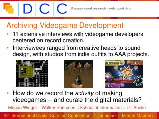 Archiving Videogame Development