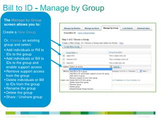 Bill to ID - Manage by Group
