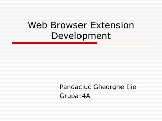 Web Browser Extension Development