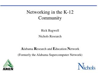 Networking in the K-12 Community Rick Bagwell Nichols Research