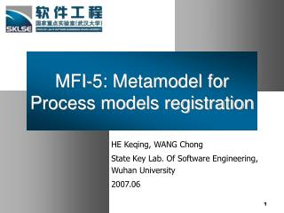 MFI-5: Metamodel for Process models registration