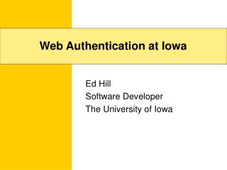 Web Authentication at Iowa