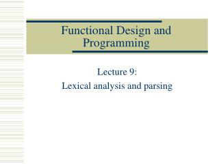 Functional Design and Programming