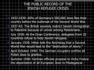THE PUBLIC RECORD OF THE JEWISH REFUGEE CRISIS