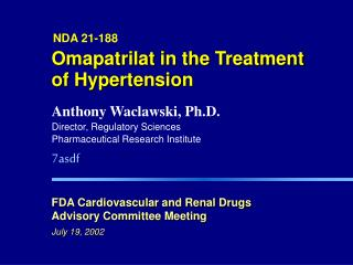 Omapatrilat in the Treatment of Hypertension