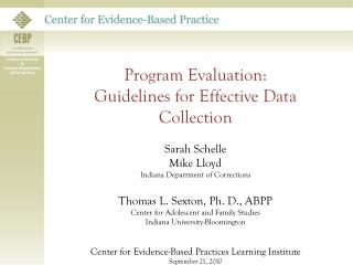 Program Evaluation: Guidelines for Effective Data Collection Sarah  Schelle Mike Lloyd