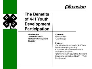 The Benefits     of 4-H Youth Development Participation