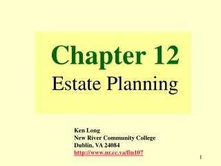 Chapter 12 Estate Planning