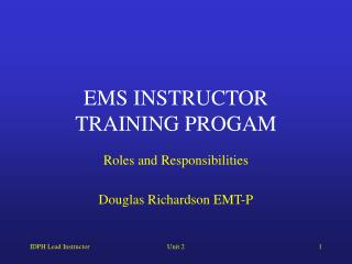 EMS INSTRUCTOR TRAINING PROGAM
