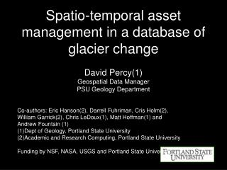 Spatio-temporal asset management in a database of glacier change