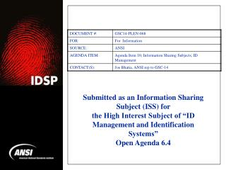 Submitted as an Information Sharing Subject (ISS) for