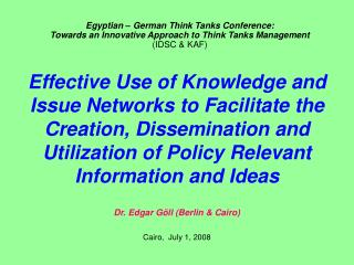 Types of demands and motifs for knowledge, ideas etc.