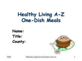 Healthy Living A-Z One-Dish Meals
