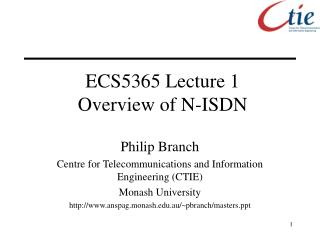 ECS5365 Lecture 1 Overview of N-ISDN