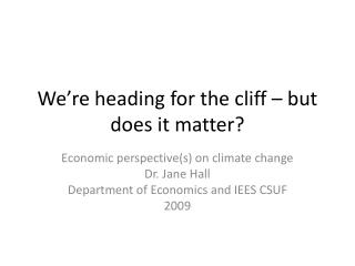 We're heading for the cliff – but does it matter?