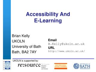 Accessibility And  E-Learning