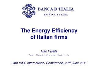 The Energy Efficiency  of Italian firms