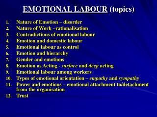 EMOTIONAL LABOUR (topics)