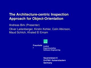 The Architecture-centric Inspection Approach for Object-Orientation