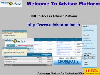 Welcome To Advisor Platform