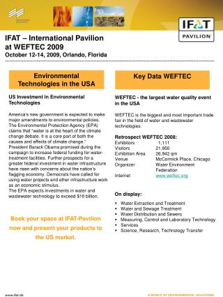 IFAT – International Pavilion at WEFTEC 2009 October 12-14, 2009, Orlando, Florida