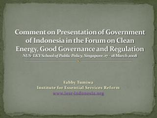 Fabby Tumiwa Institute for Essential Services Reform iesr-indonesia