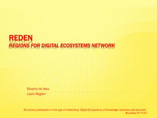 REDEN REgions for Digital Ecosystems Network