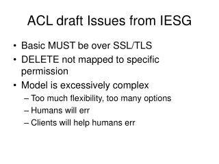 ACL draft Issues from IESG